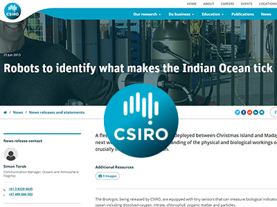 Web article: CSIRO News release (2015) Robots to identify what makes the Indian Ocean tick